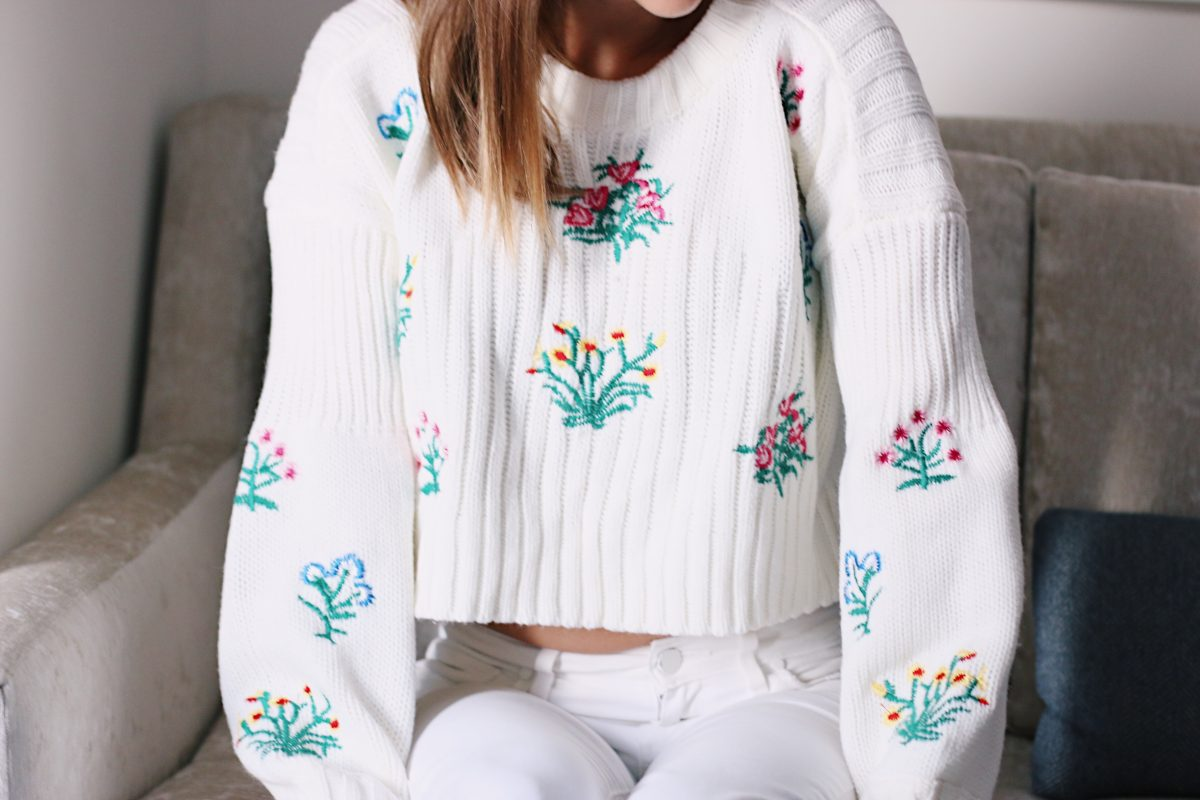 Fashion blogger in embroidered Shein sweater