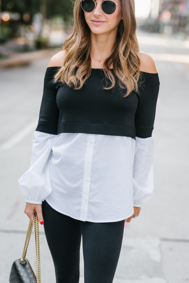 up close look of my street style off the shoulder look