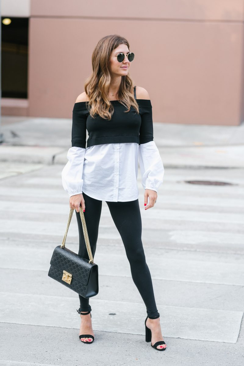 Sweet Style off the shoulder faux layered look