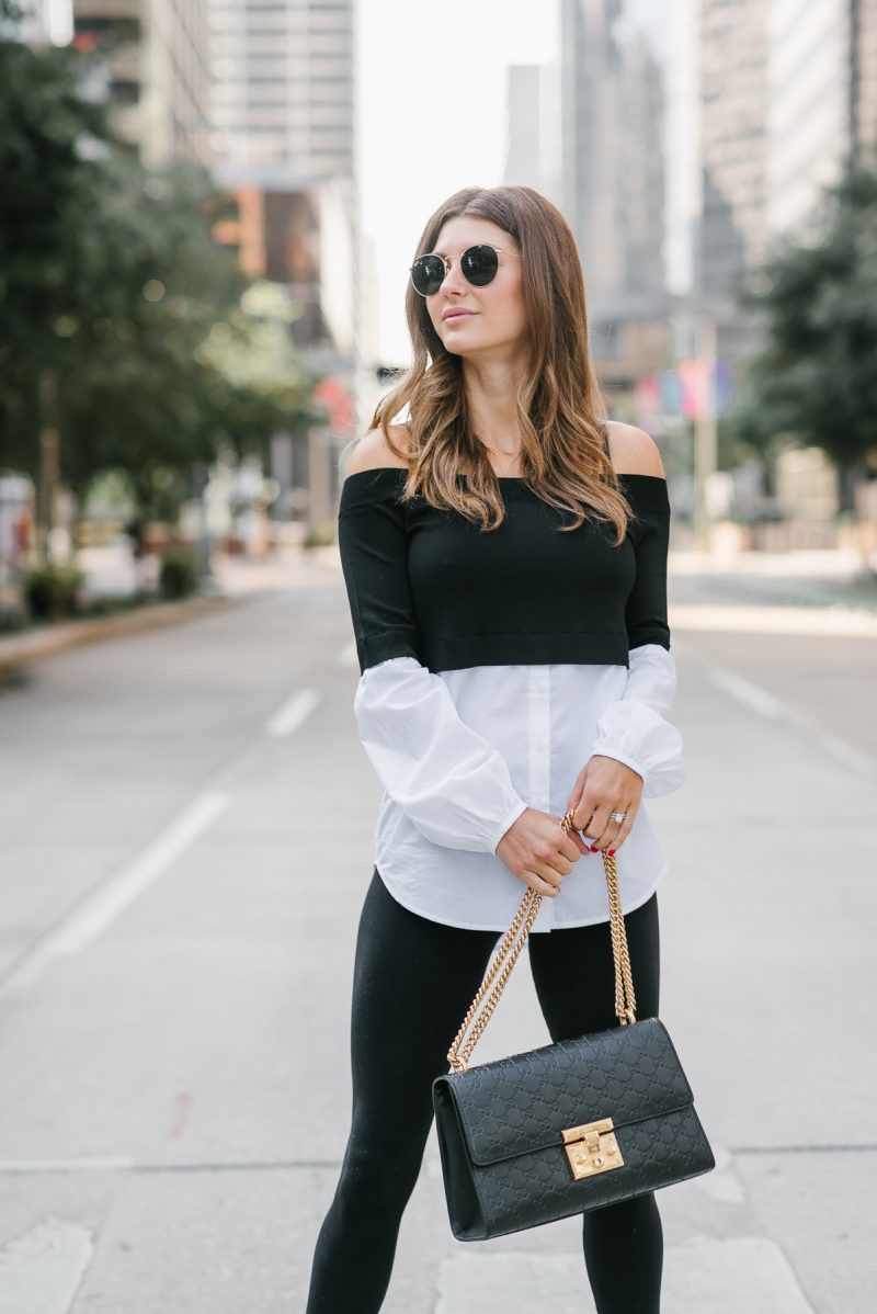 Over looking downtown in a faux layered look with gucci handbag
