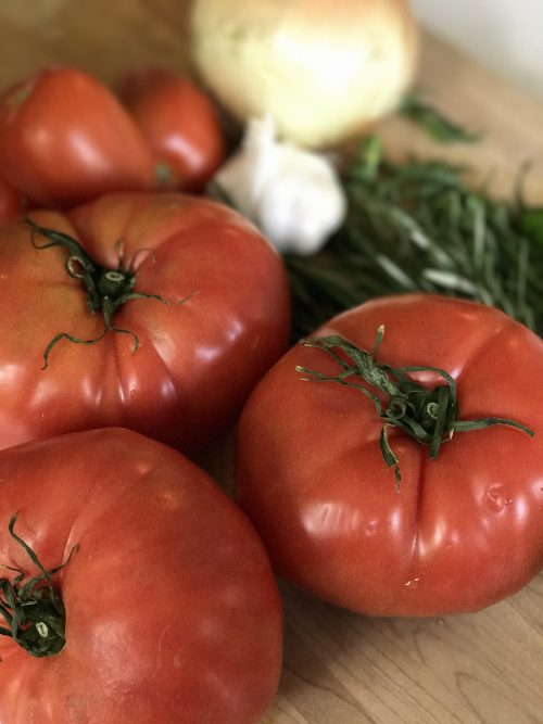 tomatoes and herbs for my chicken and rice recipe