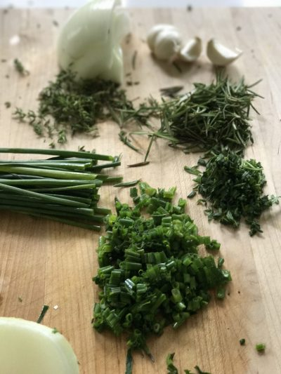 chopped herbs for my chicken and rice recipe