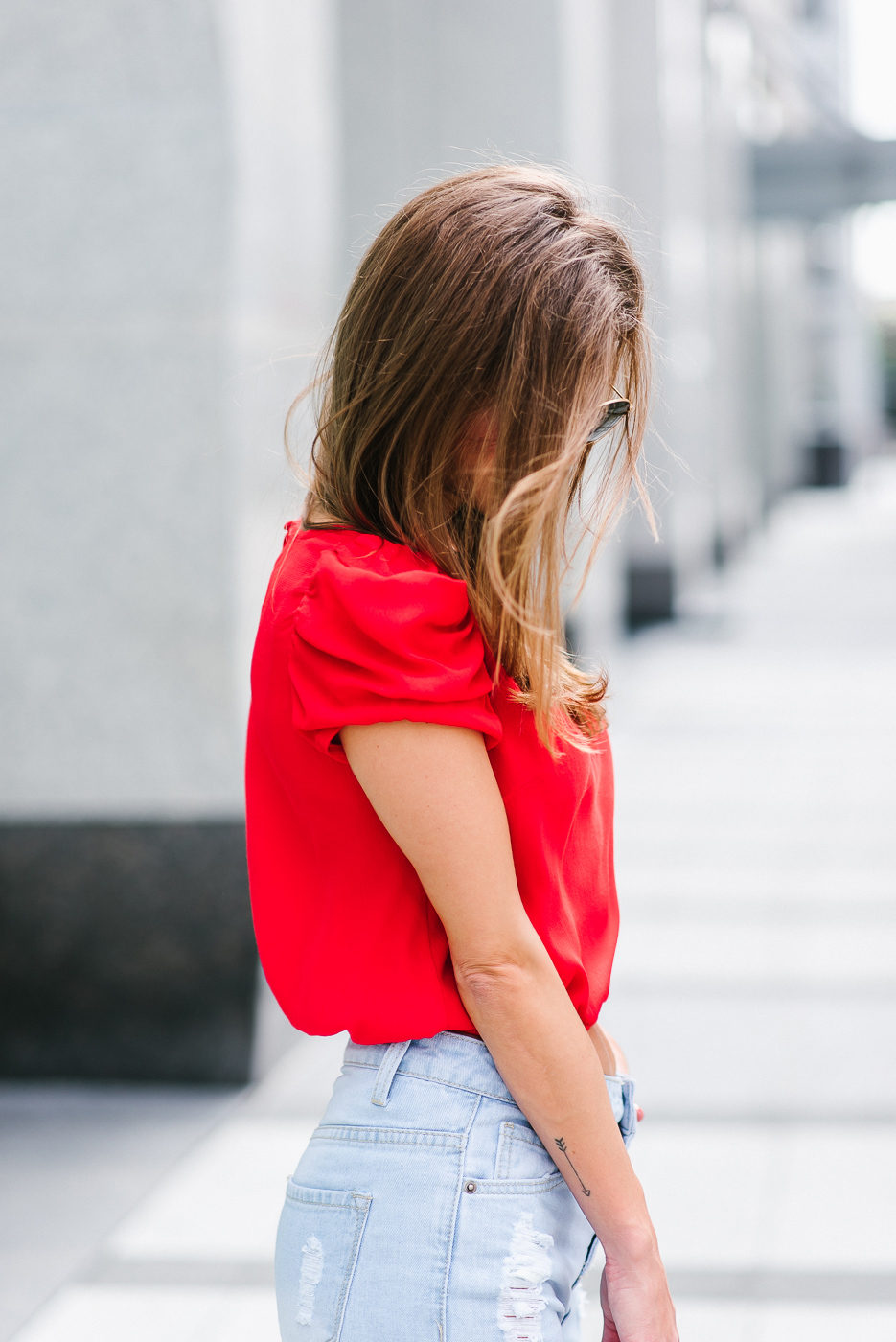 AshLee Frazier wearing her mom jeans as street style