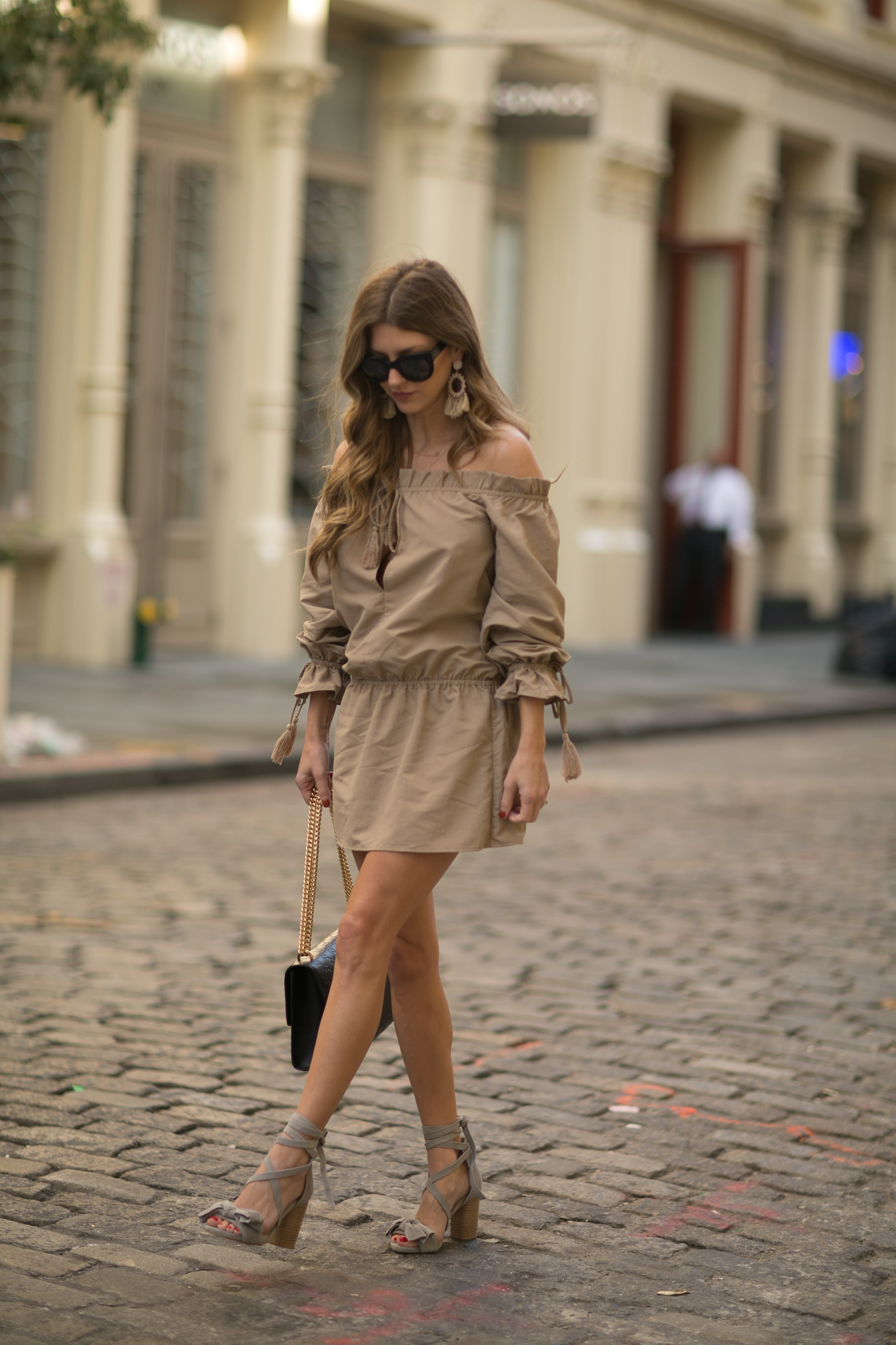Walking the streets of Chelea New York during fashion week in Tularosa and Raye shoes
