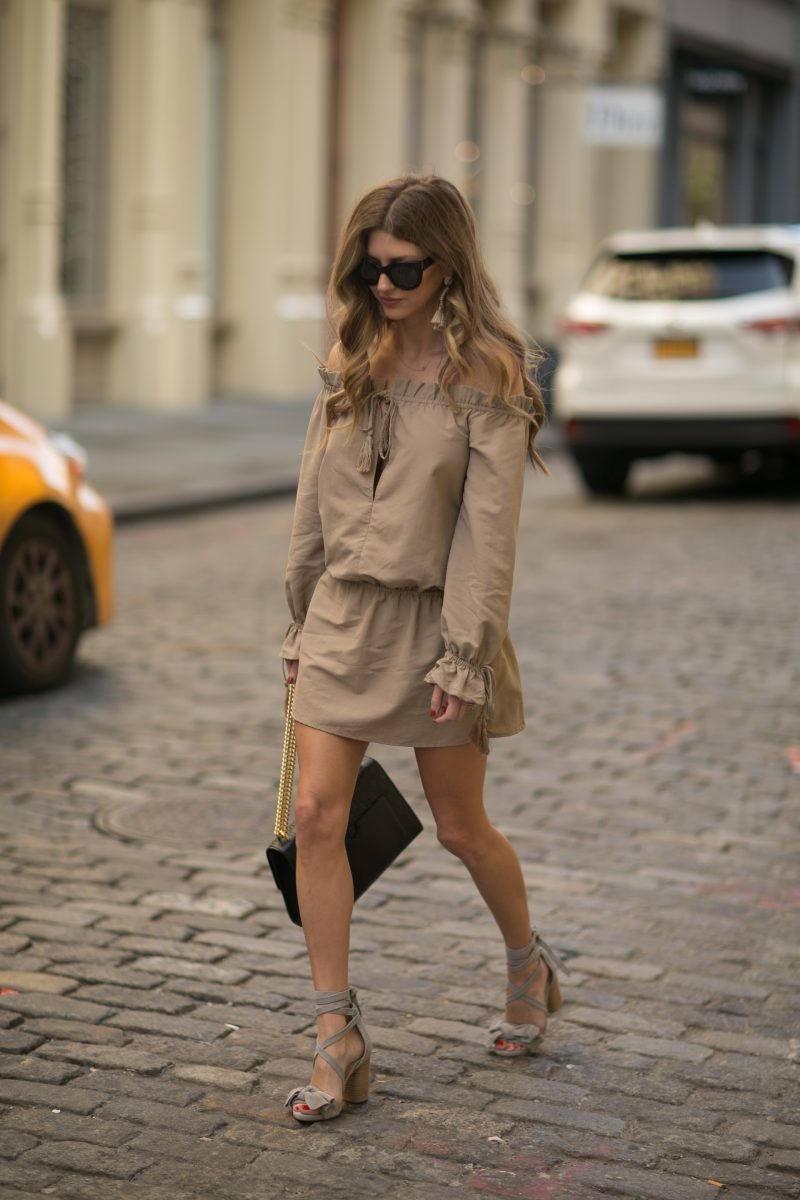 walking the streets of SOHO wearing a revolve dress and raye shoes