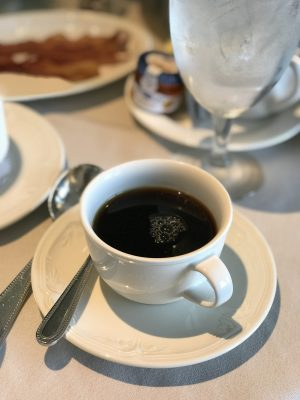 Coffee to start the day at the Chicago Fairmont hotel