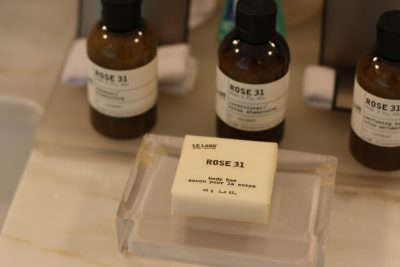 Toiletries at the Fairmont Hotel in Chicago. Le Labo Rose 31