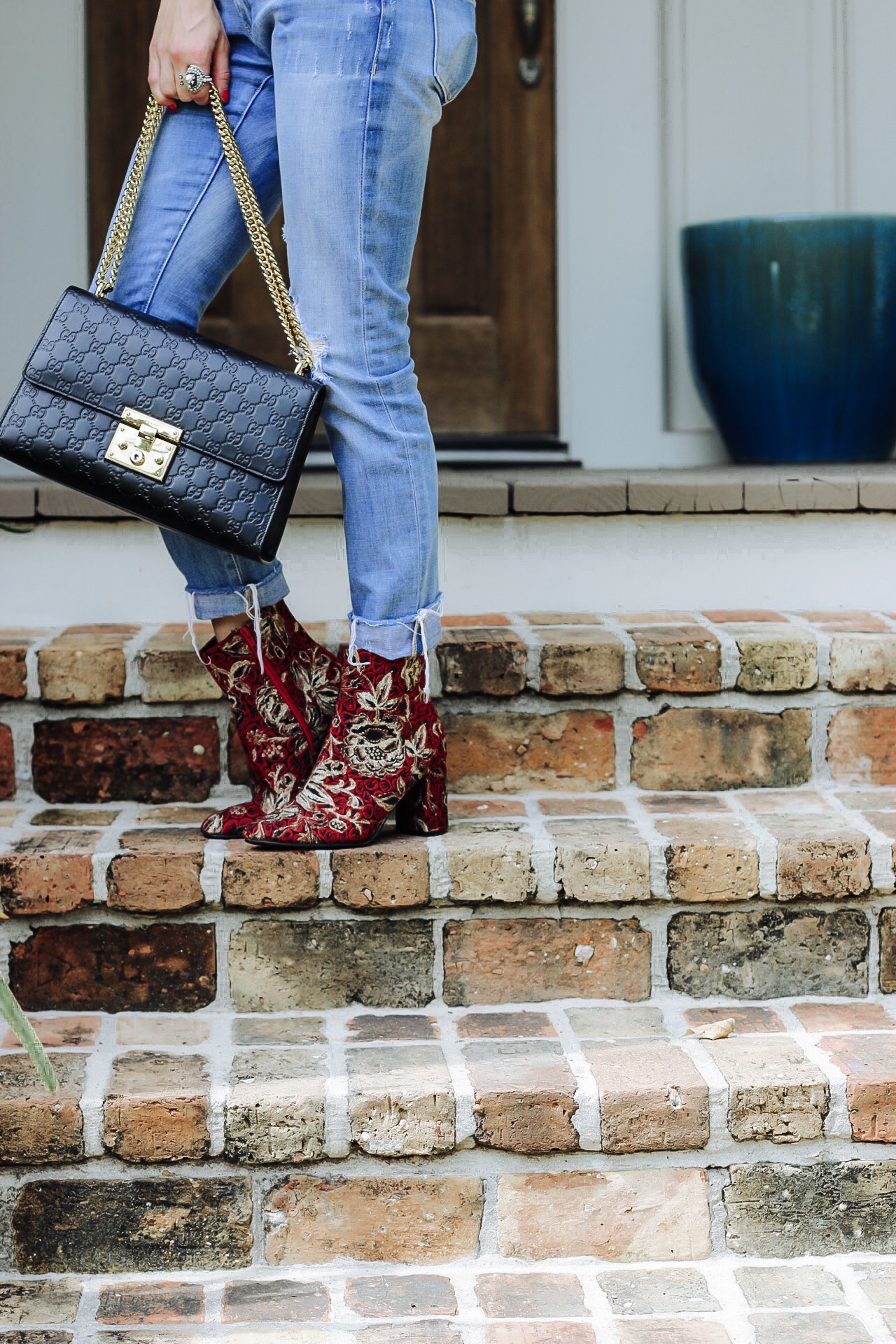 mark and Spencer boots with Gucci handbag