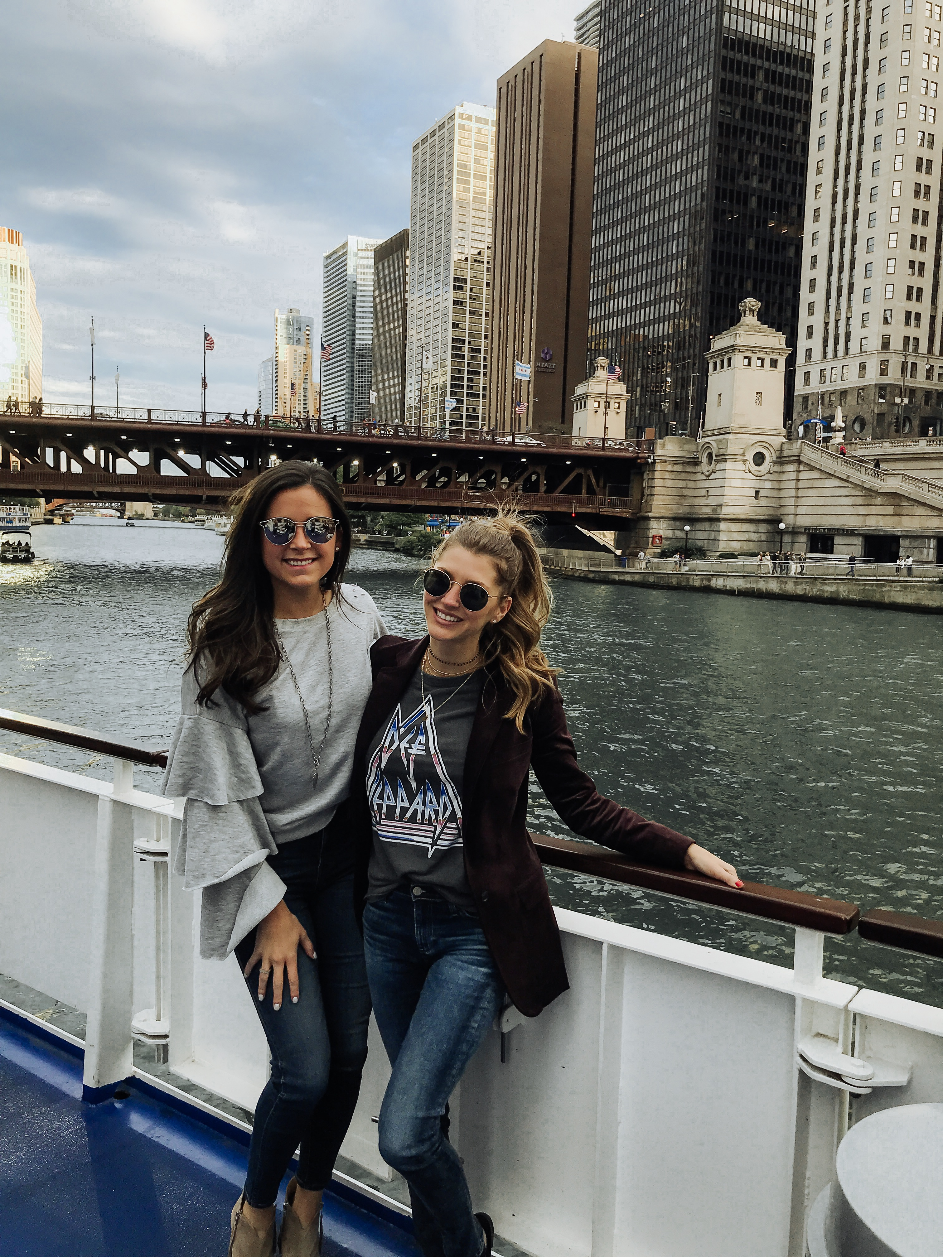 Blogger and friend on Windella boat tour in Chicago Illinois
