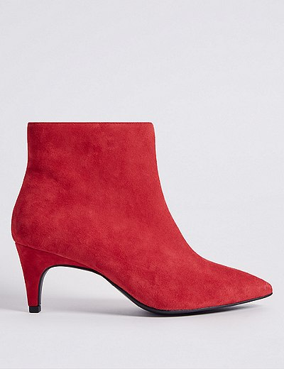 Red kitten heel boties