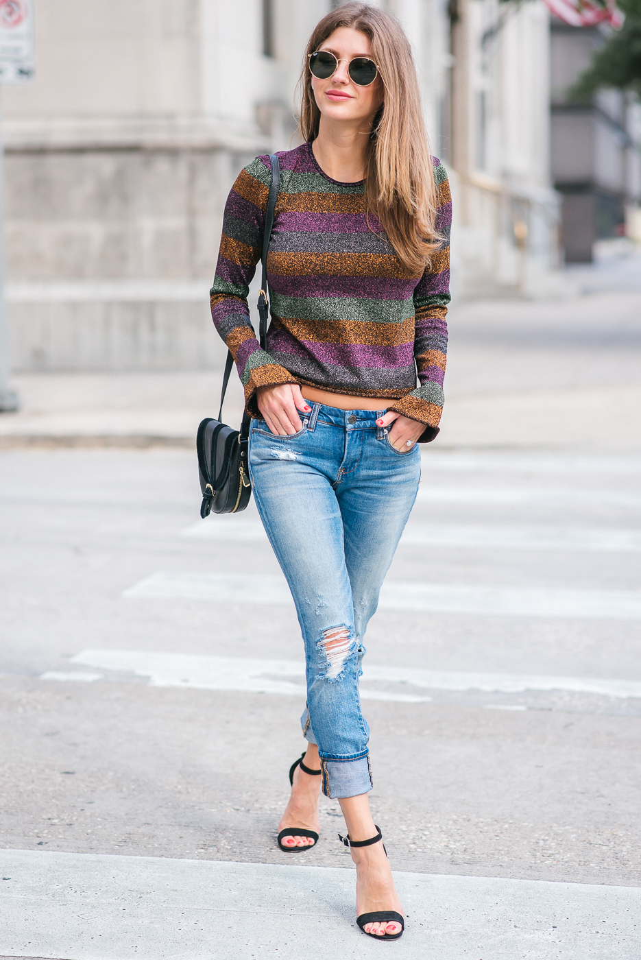 Street Style look in Stuart Weitzman shoes and metallic top