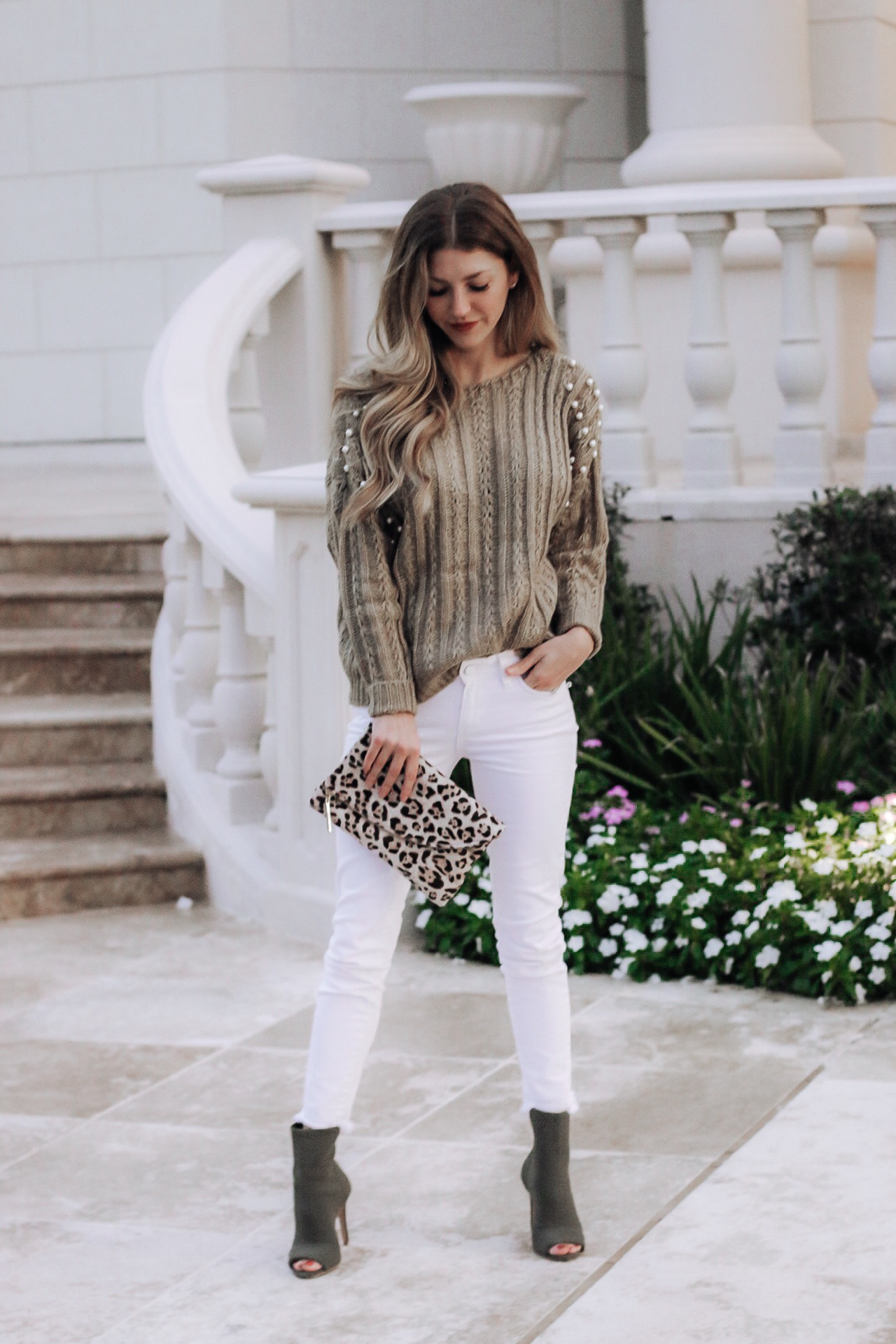 Wearing Shein Oversized pearl sweater and green Macy's ankle bootoes