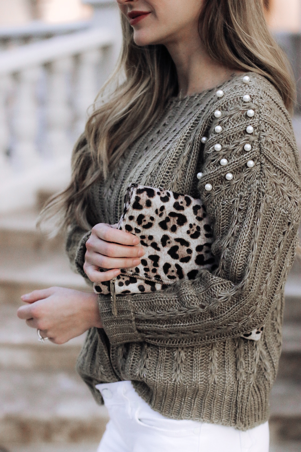 Sharing my love for a pearl embellished knit sweater and leopard handbag