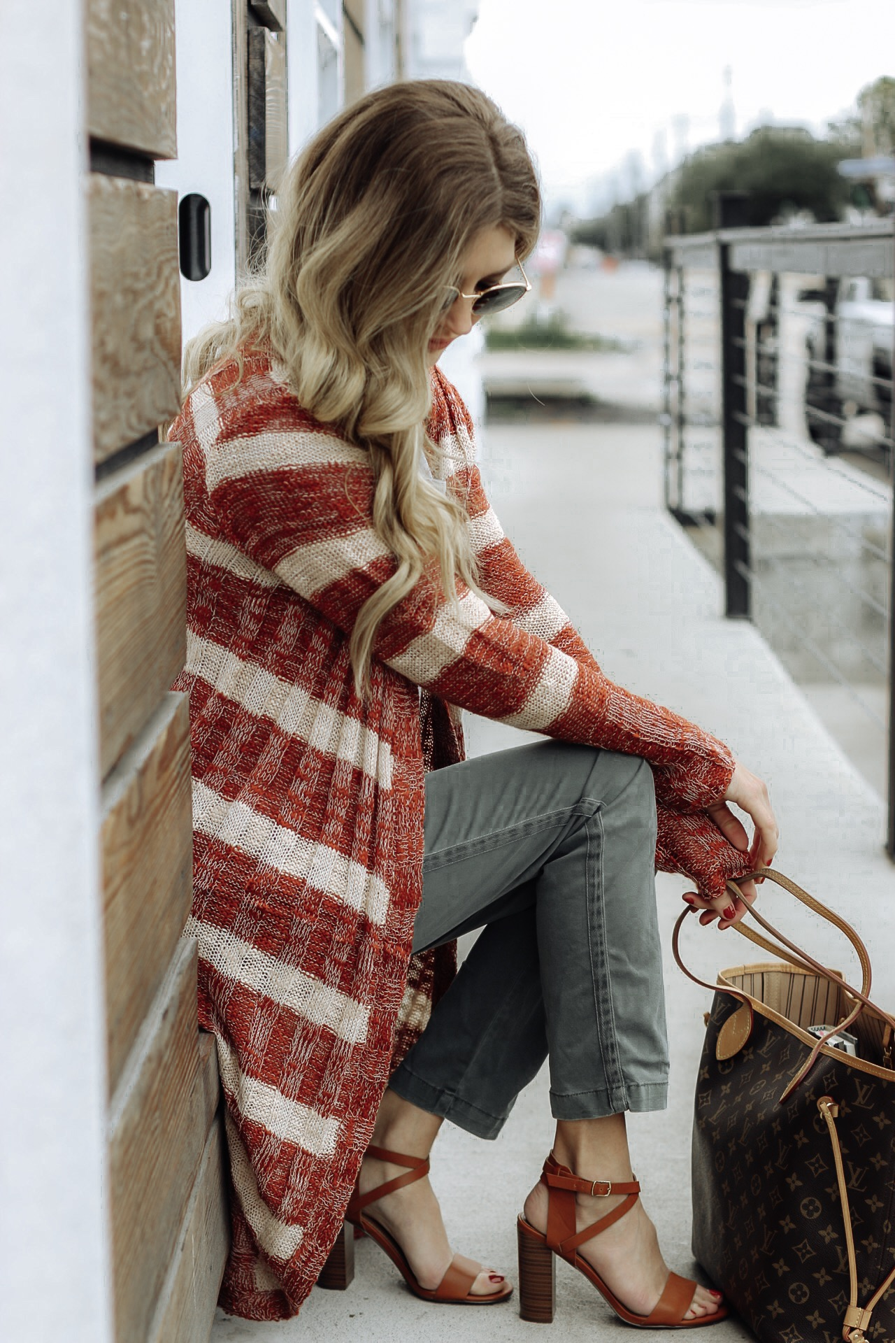 Wearing a cardigan and offering a Holiday giveaway from Shop Pink Brush