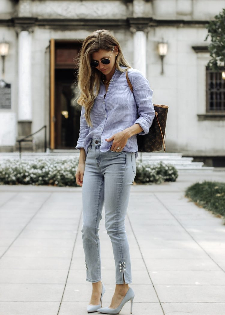 fashionista wearing untuckit top and pearl pants