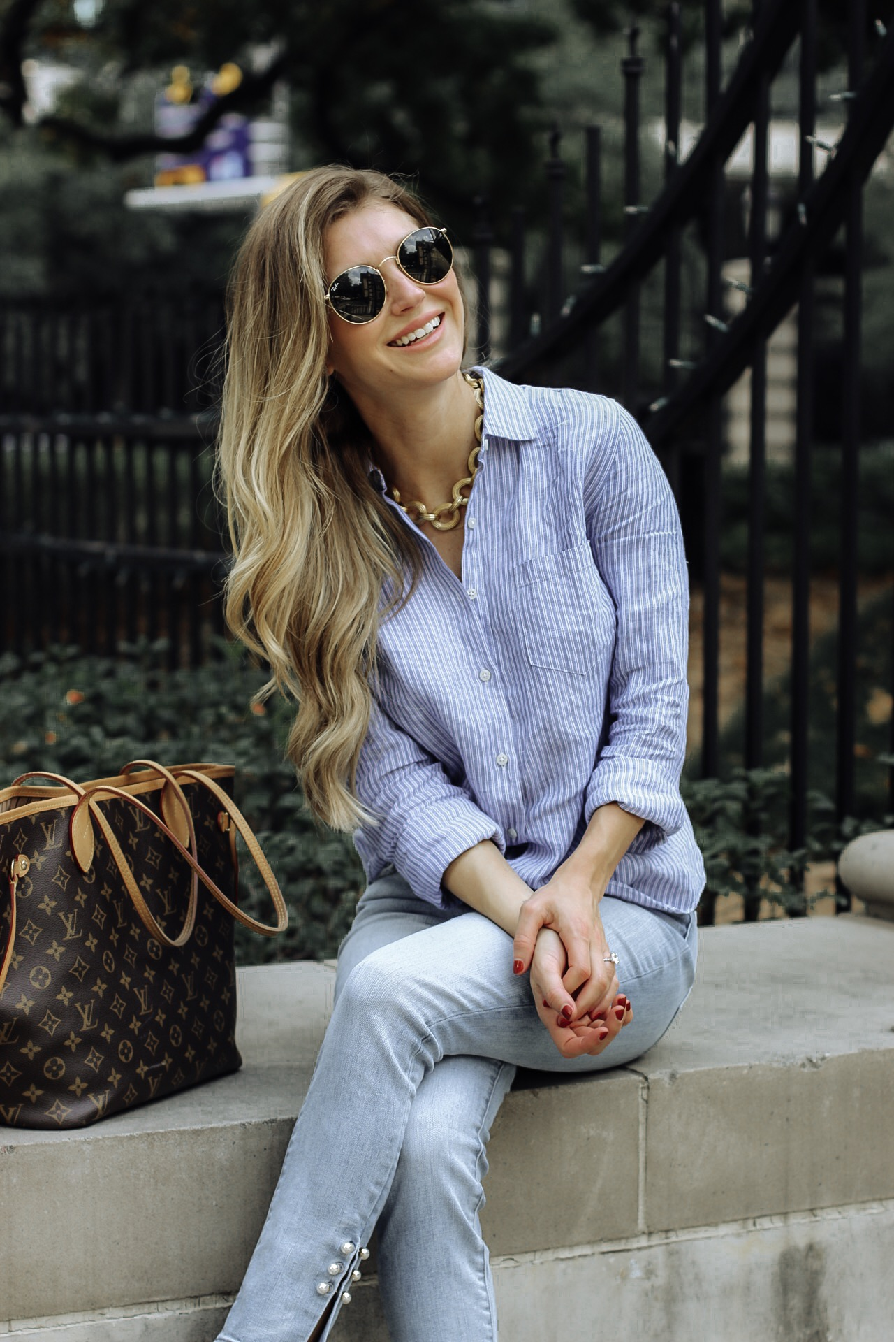 Happy day, running errands wearing button down and jeans