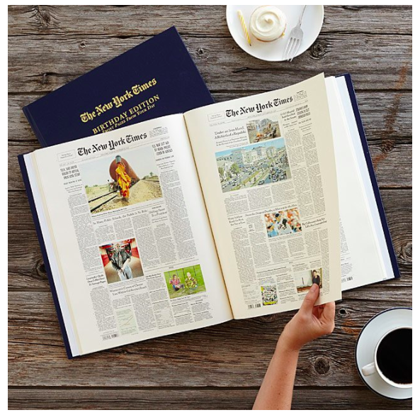 Gift guide idea that commemorate a newsworthy birthday with a collection of The New York Times front pages.
