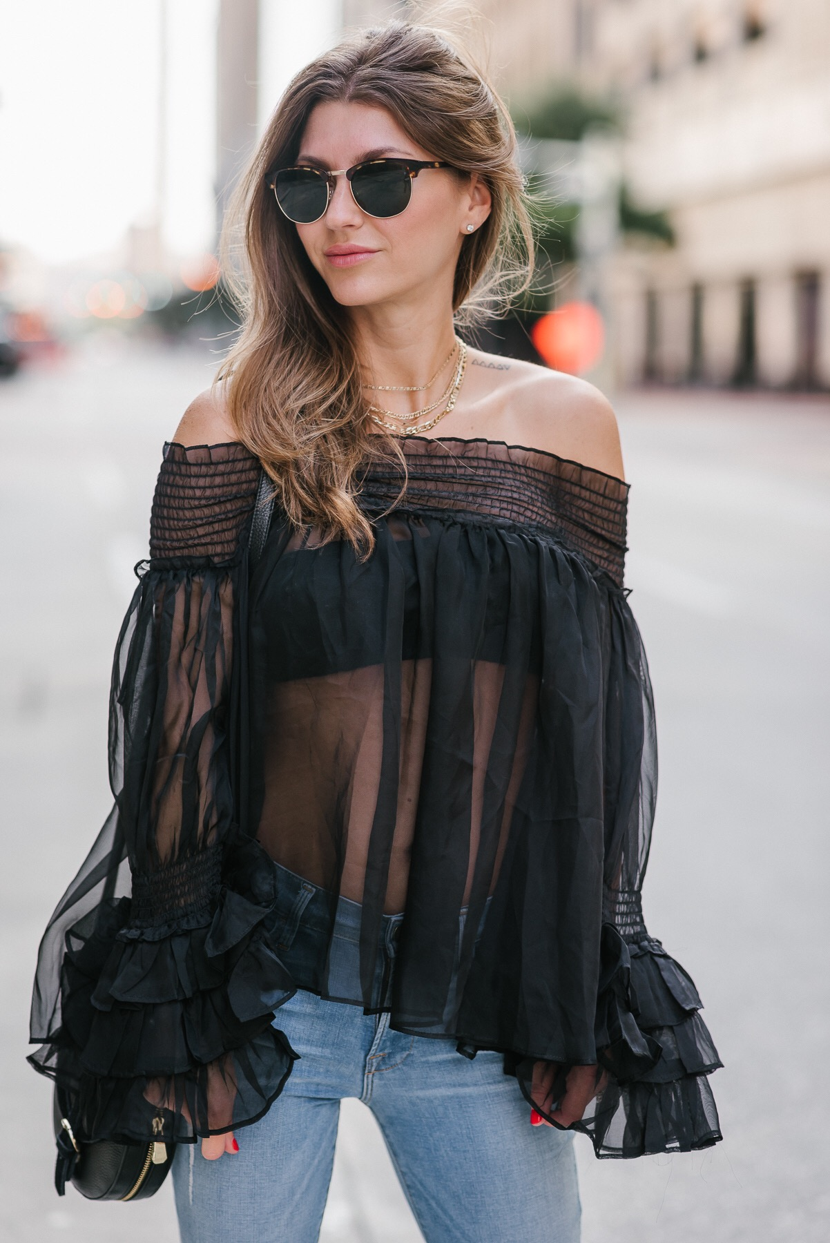 AshLee Frazier wearing sheer top from Topshop