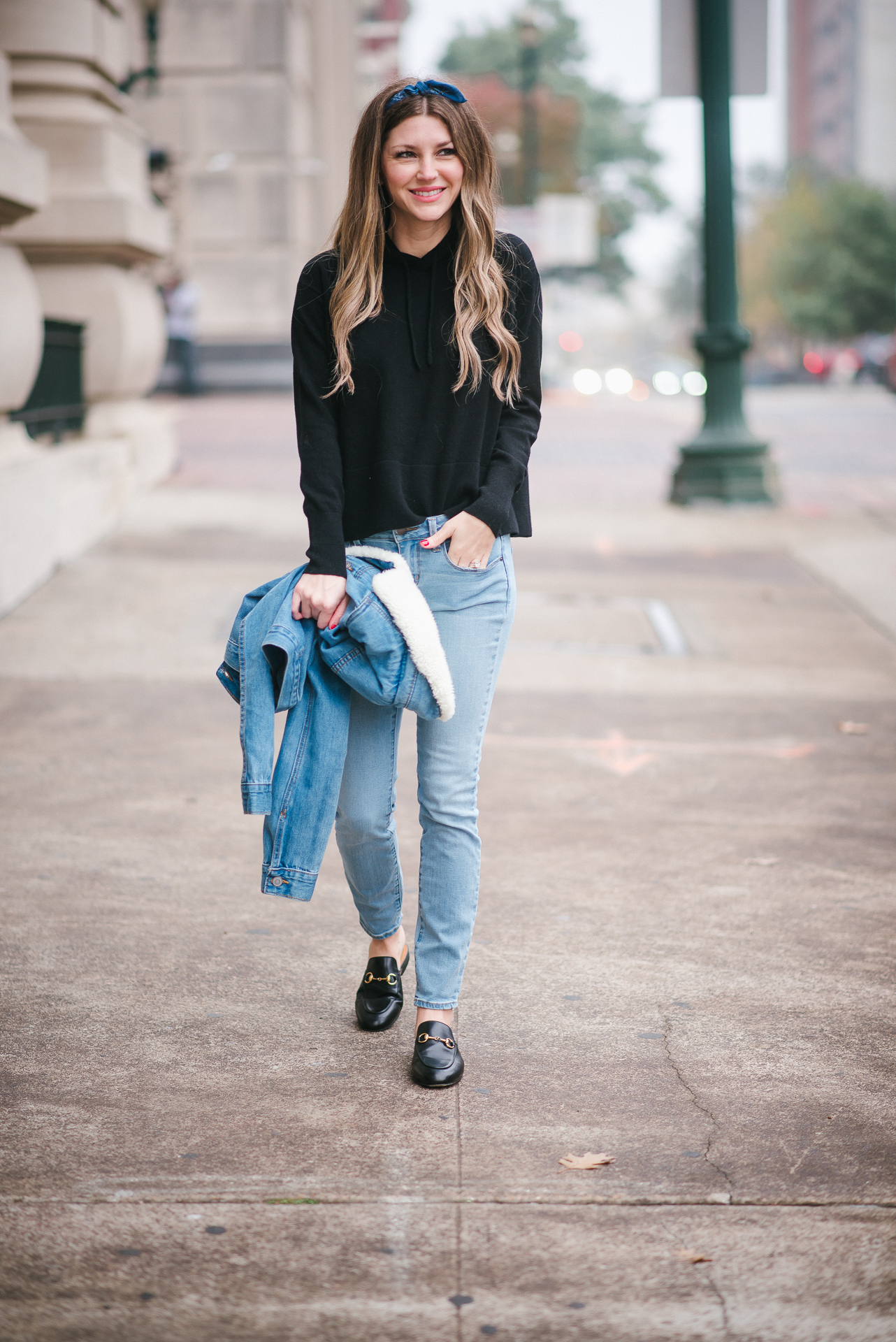 Fashionista wearing Everlane cashmere hoodie and DSTLD