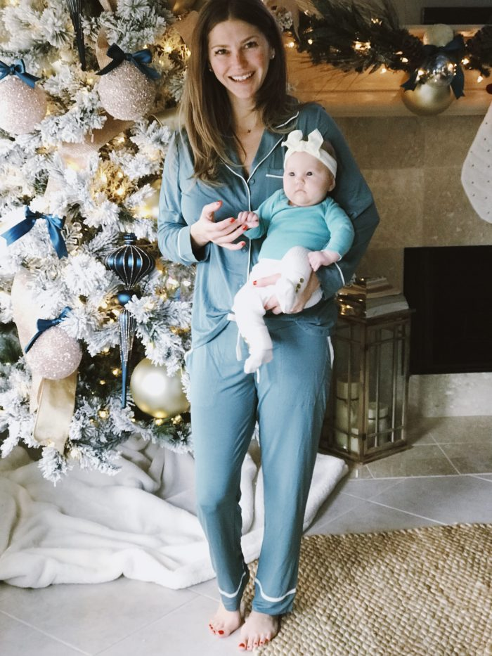 AshLee Frazier and Navy wearing Soma Pajamas in front of Christmas tree