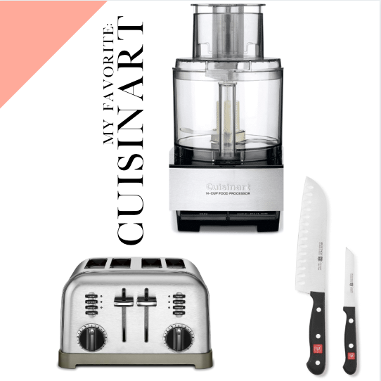 Brands for your kitchen are cuisinart, Wusthof knives and cuisinart toaster.