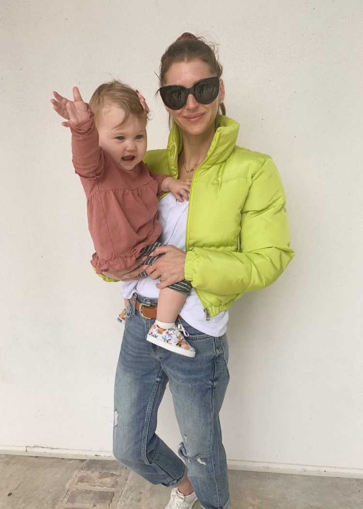 Neon jacket mom with daughter