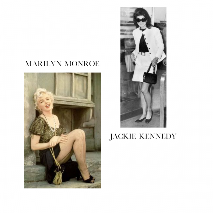 Jackie Kennedy and Marilyn Monroe with the iconic micro bag