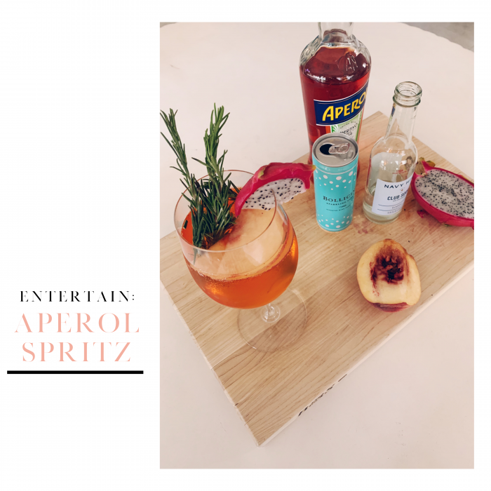 Aperol sprits with peaches, rosemary and Prosecco