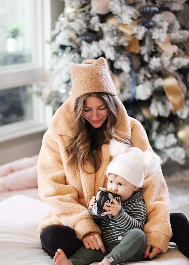 cozy jacket winter trend AshLee Frazier Williams and Her daughter, Nav.