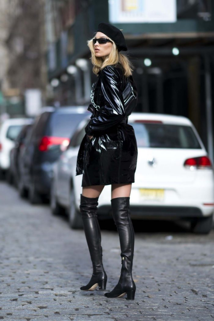 Elsa Hosk wearing all leather