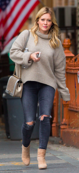 hillary duff wearing oversized sweaters