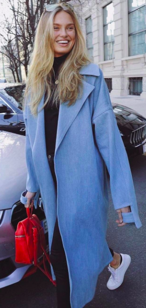 Romee Strijd wearing trench coat