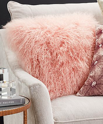 pink cozy fluffy pillow