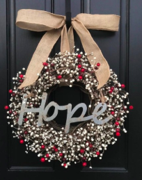 christmas wreath for the holidays on front door