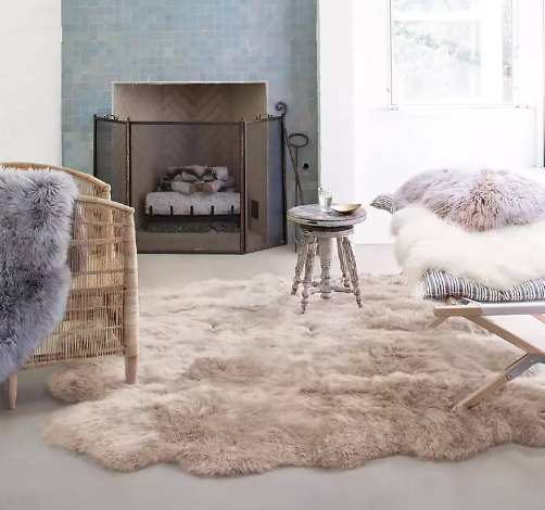 fluffy rug in living room by the fireplace