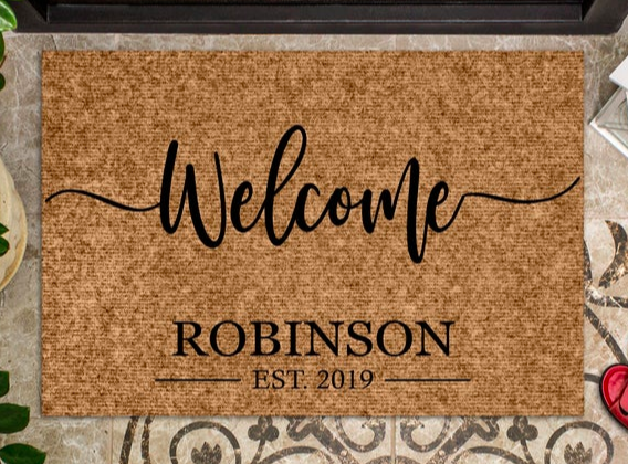 personalized regift proof welcome mat